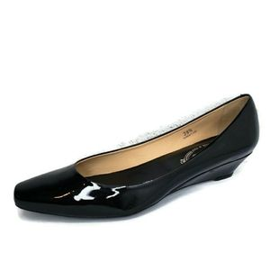 TOD'S  Black Patent Leather  Low Wedge Dress Shoes